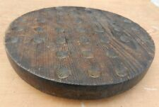 """Antique Hand Carved 33 Hole Marble Wooden Game Board Display 10"""" Diameter"""