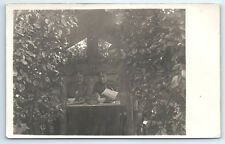 ANTIQUE Vintage WW1 GERMAN Real Photo RPPC Postcard UNIFORM SOLDIERS IN CAMP