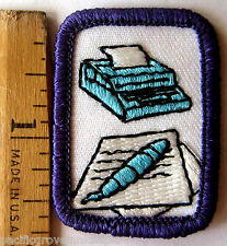 Girl Scout Sr. 1980s CREATIVE WRITING INTEREST PROJECT Typewriter Patch Badge IP