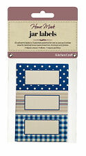 Kitchen Craft JAR LABELS Stitched Stripes self adhesive Jam Jar Pot GIFT tag