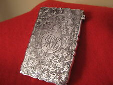 1901 Solid Silver Card Case Wonderful Chased Design By Frank Moss,Birmingham.