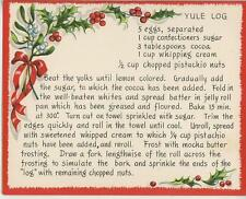 VINTAGE CHRISTMAS YULE LOG PISTACHIO CAKE RECIPE 1 WINTER SNOW GARDEN BEE CARD