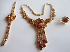 GABLONZ CZECH AMBER & IRIDESCENT GLASS rhinestones SET NECKLACE BRACELET RING #1