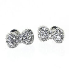 Beautiful Silver Color Bow Ties Earrings with White Crystals