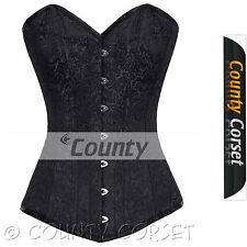 Steel Bone Long Torso Overbust Bustier Back Lacing Black Brocade Corset Korset