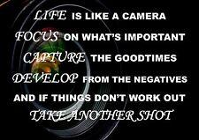 Cartel de presupuesto Life inspiradoras motivacionales la vida es como una cámara.. A4 260GSM.