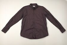 HERMES Mens Maroon Check 100% Cotton Button Shirt Size 16.5 / 42 Made In France