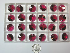 72 PIECES SWAROVSKI CRYSTAL BEADS #6404 14MM RUBY - OCTAGON - 2 HOLED - RED