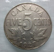 1927 CANADA 5¢ KING GEORGE V NICKEL COIN
