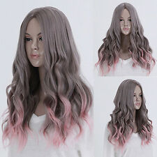 LOLITA GREY PINK CENTRE PARTING COSPLAY LONG CURLY WAVY HAIR FULL WIGS WONDROUS