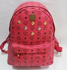 Authentic MCM Stark Medium Red Backpack