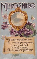 Violets by Memory's Mirror Motto on Scroll-Old Postcard-BB London Series No. E28