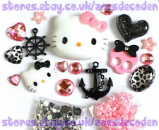 3D DIY Cell Phone Case pink Kawaii Hello Kitty anchor cabochon Deco Den Kit
