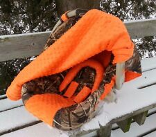 2 Piece Set-Camo Infant Car Seat Cover and Canopy Cover, Max4 and Bright Orange