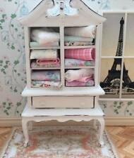 DOLLS HOUSE MINIATURE 1:12 SHABBY CHIC LINEN CABINET