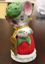 1980 Jasco Bisque Porcelain Mouse Christmas Critter Bell Painted Red Dress NWT