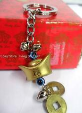 Feng Shui Chinese Japanese Lucky Key Chain Ring Gold Ingot Charm Figurine