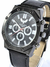 Brave Soul Mens Watch Real Black Leather Strap Octagonal Bezel, Authentic Model