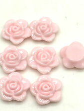 New 30pcs 15mm Resin Rose Flower Flatback Appliques For Phone/Crafts DIY Pink###