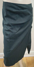 DONNA KARAN NEW YORK Black Wool Linen Blend Wrap Pleated Pencil Skirt IT42 UK10