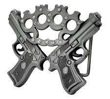 Silver Double Gun & Jeweled Brass Knuckles Belt Buckle Guns Weapons Pistol 9 Hip