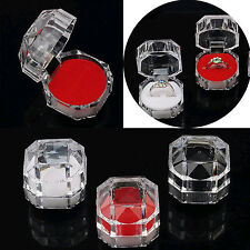 Wholesale 12pcs Lots Plastic Crystal Jewelry Ring Display Storage Boxes 3color