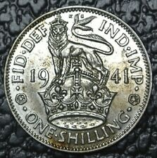 1941 GREAT BRITAIN - ONE SHILLING - SILVER - George VI - WWII era - Some Toning