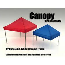 CANOPY ACCESSORY BLUE,RED & 1 CHROME FRAME SET 1:24 SCALE AMERICAN DIORAMA 77587