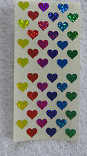 Sandylion MINI HEARTS PRISMATIC Strip of 2 Sqs Multi Colored Stickers RARE