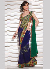 Indian Bollywood Designer Party Wear Peacock Style Sari Saree Traditional Ethnic