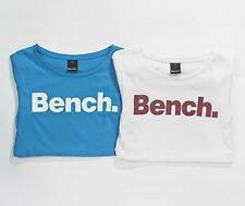 BNWT NEW LADIES 2 PACK BENCH T-SHIRT FITTED TOPS SIZE S / 10 BLUE WHITE GLITTER
