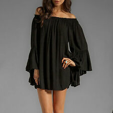 Boho Womens Long Sleeve Off Shoulder Top T Shirt Blouse Tunic Dress 8-24/S-3XL