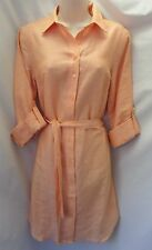"""ANN TAYLOR"" LIGHT ORANGE CAREER CASUAL LINEN SHIRT DRESS SIZE: 4 NWT $130"