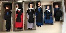 Vintage Set of 6 Amish Family Dolls Souvenirs, NEW NOS w/boxes, Lancaster PA