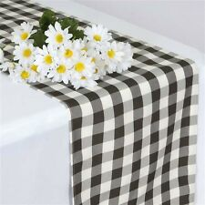 "Black CHECKERED Gingham Polyester TABLE RUNNER 14 x 108"" Wedding Party Catering"