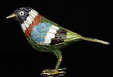 China Collectible Old Handwork Cloisonne Painting Vivid Bird Statue