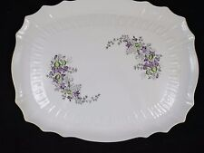 Pirkenhammer Rectangular Platter Purple Flowers ROSE Embossed Gold Trim
