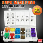 New 24 PC Auto Car Maxi Fuse Assortment 20A-100A 8 Sizes SDY-19049