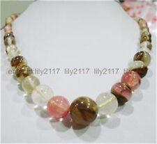 New 6-14mm Watermelon Tourmaline Gems Round Beads Necklace 18