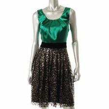 MISS Sixty Emerald Green Satin Sleeveless Sequin Cocktail Dress Size 10