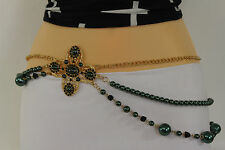 New Women Belt Hip Waist Green Big Flowers Gold Metal Chain Beads Fashion S M L
