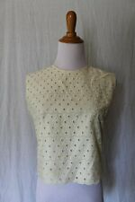 Vintage Ivory Eyelet Top Fully Lined Sleeveless Shell Hidden Metal Zipper S M