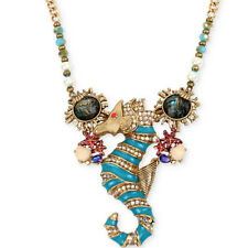 NWT Auth Betsey Johnson 'The Sea' Crystal Seahorse Collar Necklace B11188-N01