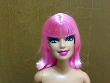 Barbie Doll Fashionista Swappin' Styles Head Cutie Pink Straight Hair Bangs Rare
