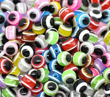 250  Resin Mixed Evil Eye Spacer Beads 6mm Random Mix of colours Free UK Postage