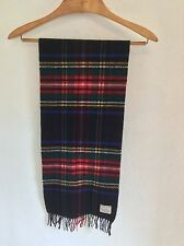 VTG NORDSTROM PLAID SCARF 100% SUPERFINE LAMBSWOOL GERMANY FRINGE RED BLUE GREEN