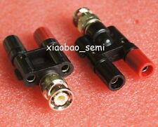 1pcs BNC male plug to two dual 4mm Banana binding female connector 1M2F Adapter