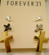 Forever 21 Earrings Cross 3 Pairs Multi-Color No Stone Screw Back (pierced) Stud