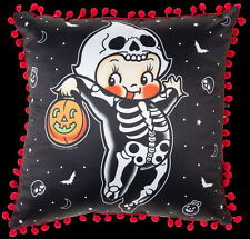 SOURPUSS CLOTHING KEWPIE SKELETON CUSHION. GOTHIC HALLOWEEN PILLOW. HORROR.