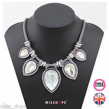 NEW Water Drop Crystal White Gem Silver Statement Necklace Chunky Womens Bib UK